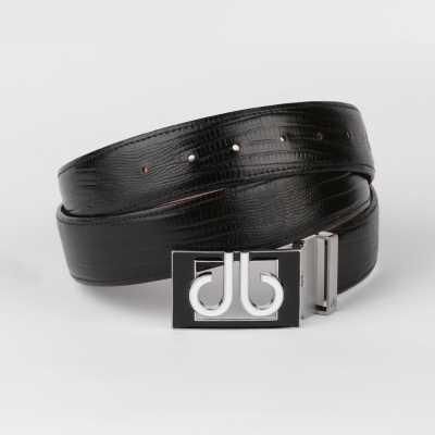 Lizard Black Belt with Blk/Wht Thru Buckle