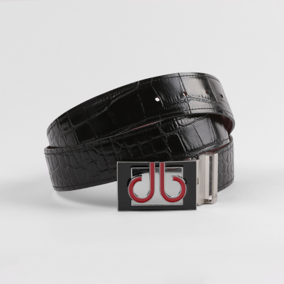 Crocodile Black Belt with Blk/Red Thru Buckle