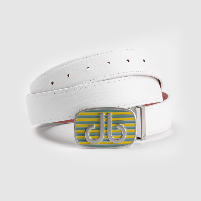 Lizard White Belt with Yel/Aqu Stripe Buckle