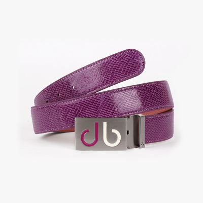 [Limited Edition] Purple Snake Textured Leather Belt with Pur/Wht Two Tone Infill Buckle