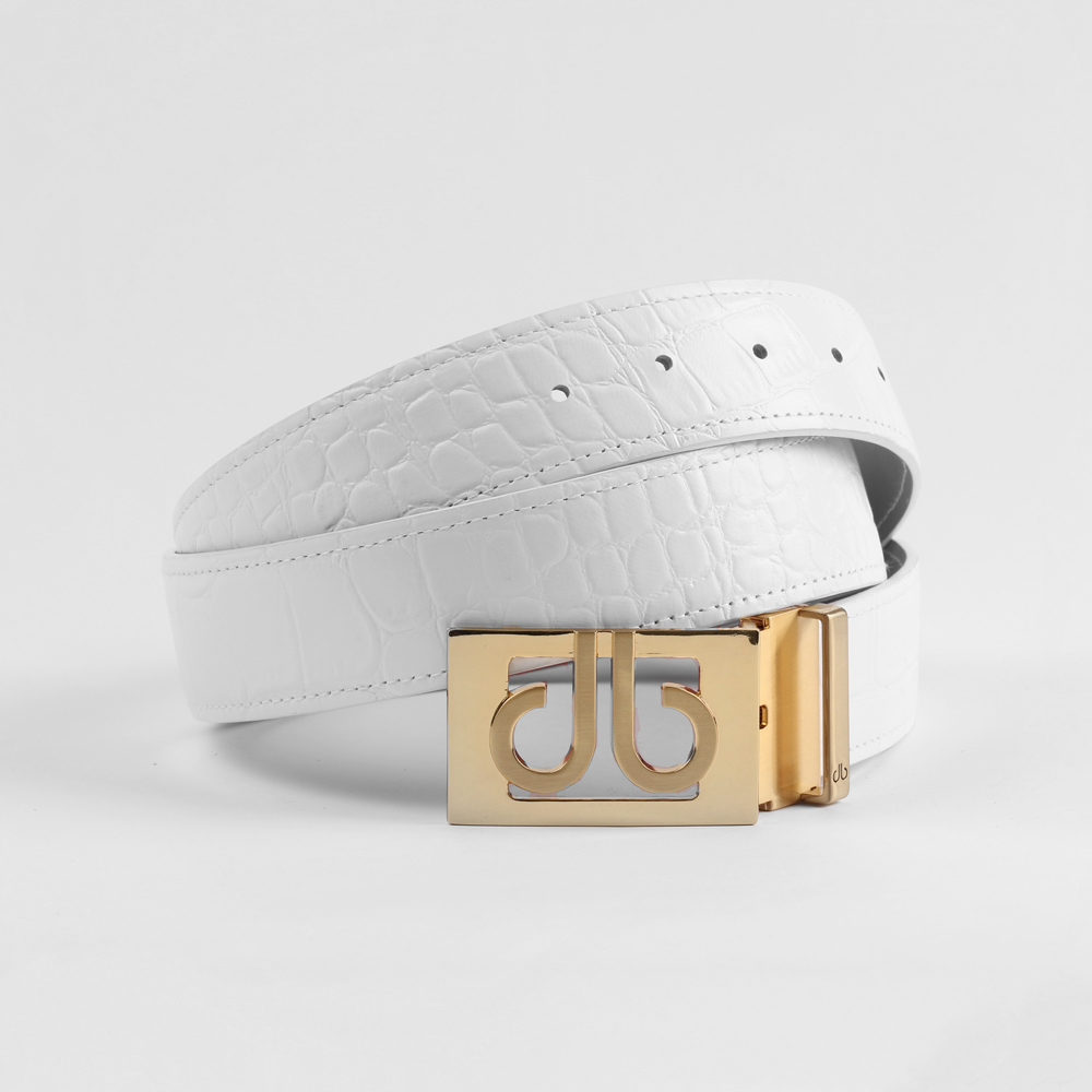 Crocodile White Belt with Classic Gold Thru Buckle