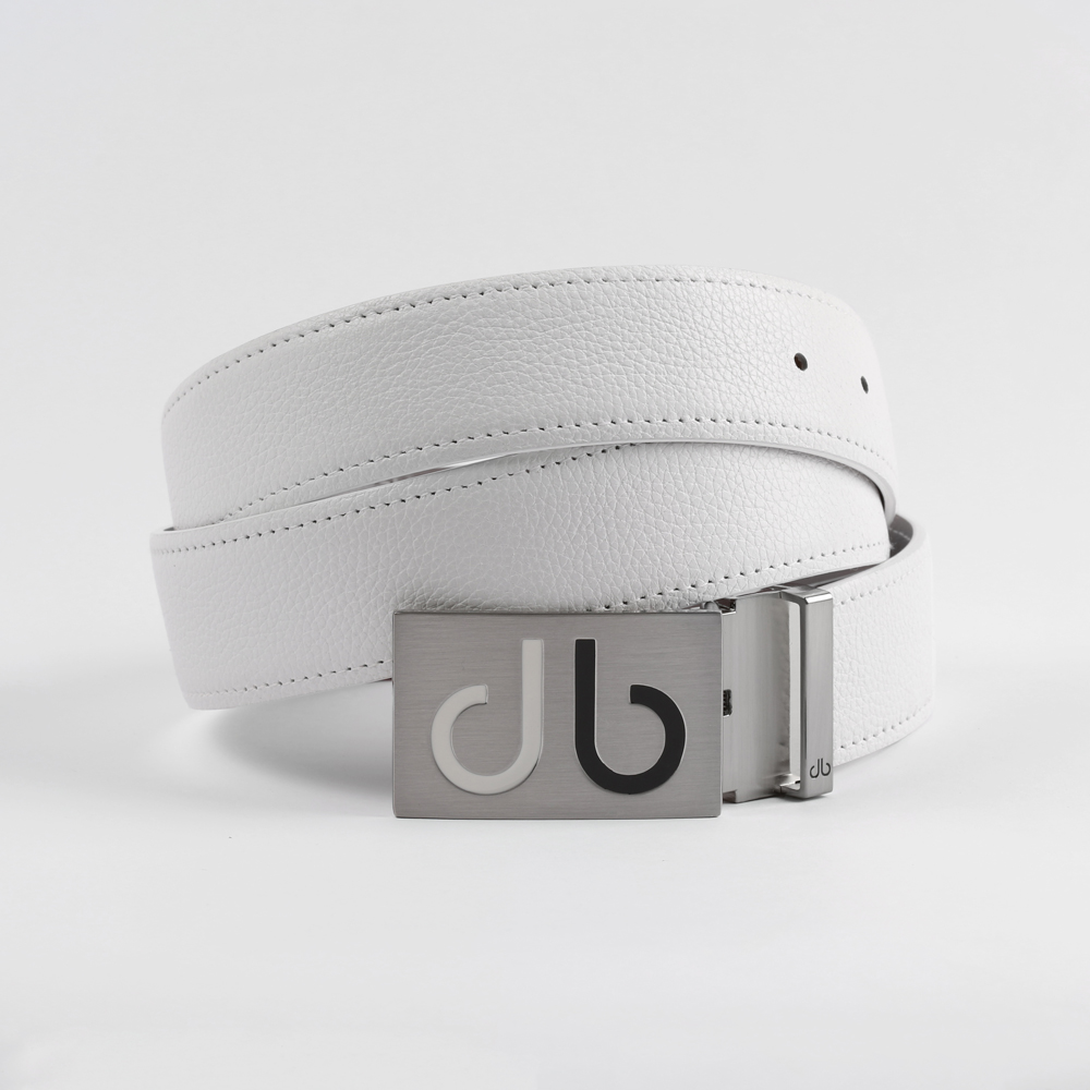Full Grain White Belt with Wht/Blk Two Tone Infill Buckle