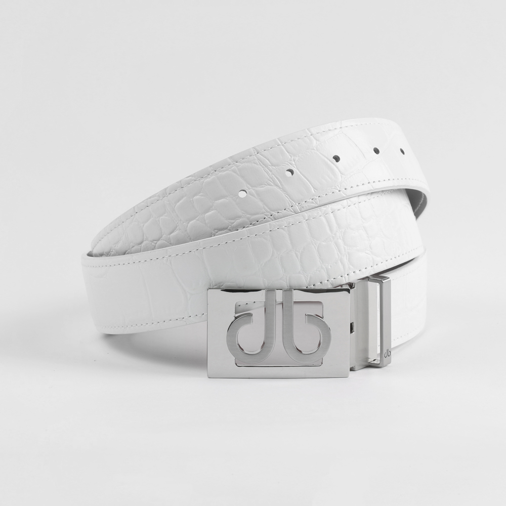 Crocodile White Belt with Classic Silver Thru Buckle